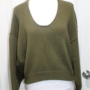 FREE PEOPLE Batwing Crop Chunky Knit Sweater S
